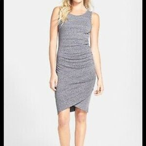 Tildon Heathered Gray Ruched Body-Con Tank dress S